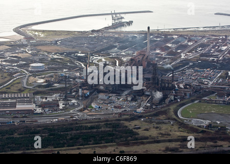 an aerial view of Port Talbot steelworks owned by Indian Steel giant TATA. - Stock Photo