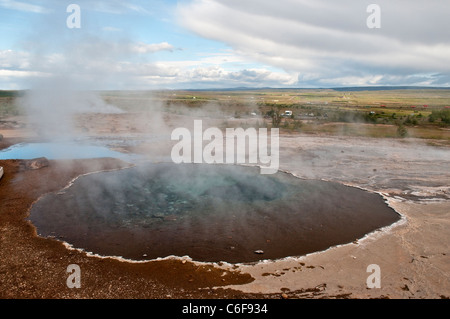 Hot Springs at Haukadalur geothermal area in Iceland - Stock Photo