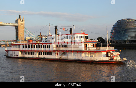 Dixie Queen pleasure boat River Thames London England UK GB - Stock Photo