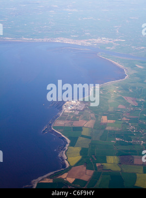 Coast of Somerset and Hinkley Point Nuclear Power Station. - Stock Photo