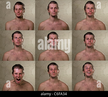 set of 9 emotions of young man - Stock Photo