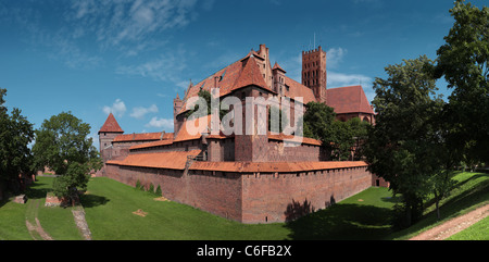 Panoramic view of the Teutonic Order's castle in Malbork from its south corner. Multi row panorama in high resolution. - Stock Photo