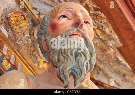 Spain, St. James Way: Detail of Sanint Jerome in the monastery church of San Juan de Ortega - Stock Photo