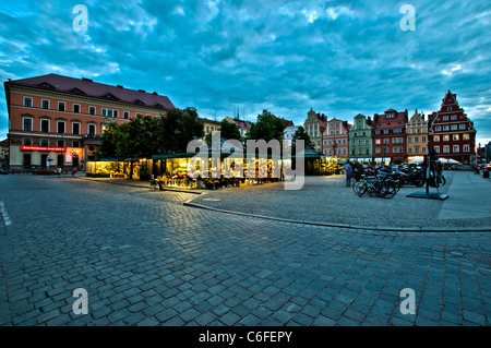 Old Town at dusk, Wroclaw, Poland - Stock Photo
