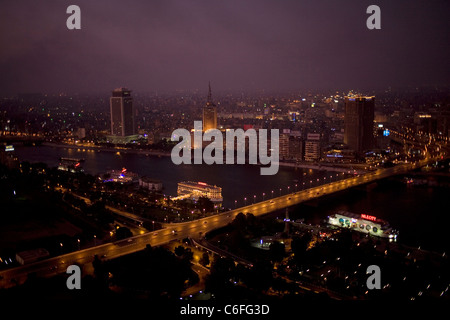 Skyline and the Nile river at sunset in Cairo, Egypt, August 9, 2011. - Stock Photo