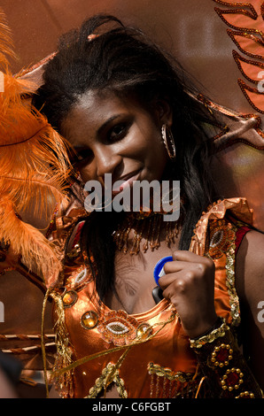Dance performer at Notting Hill Carnival London 2011 England Great Britain UK - Stock Photo