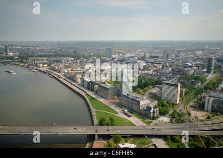 Rhine promenade and Altstadt (Old Town) aerial view, as seen from top of Rheinturm. Düsseldorf. Germany. - Stock Photo