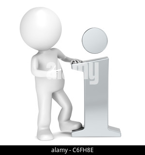 3D little human character pointing at a Steel info icon. People series. - Stock Photo