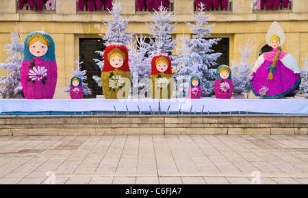 Christmas decorations; Puteaux; Near Paris, France, Europe - Stock Photo