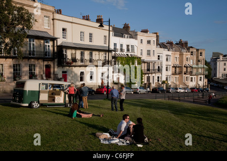 People relaxing on Sion Hill next to the Suspension Bridge, Clifton, Bristol - Stock Photo