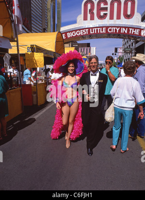 Showgirl in street, Downtown, Reno, Nevada, United States of America - Stock Photo