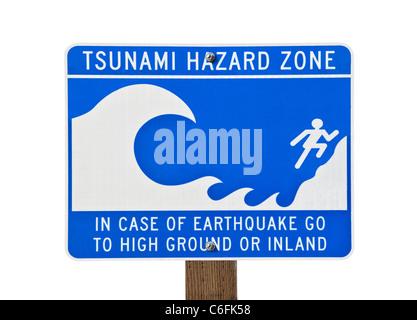 Tsunami warning zone sign isolated on white. - Stock Photo