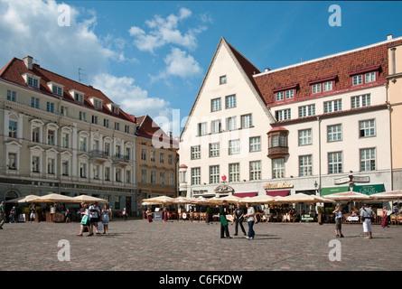 Raekoja Plats (Town Hall Square) in Tallinn, Estonia - Stock Photo