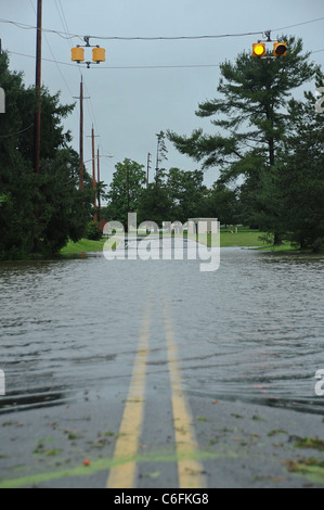 Joint Base McGuire-Dix-Lakehurst experienced wind speeds exceeding 70 mph and more than 8 inches of rainfall Aug. - Stock Photo