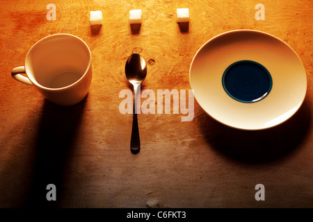 Arangement of divers things to drink coffee - Stock Photo