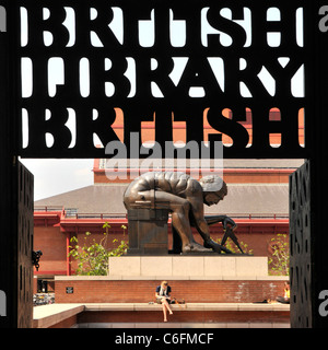 Bronze statue of Sir Isaac Newton by Eduardo Paolozzi at the British Library sign silinhoutte St Pancras Camden - Stock Photo