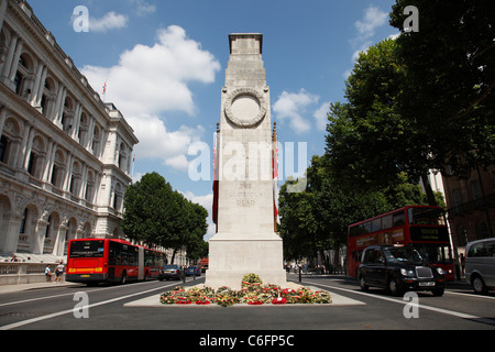 The Cenotaph on Whitehall, Westminster, London, England, U.K. - Stock Photo