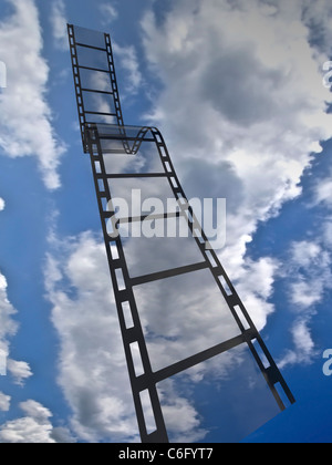Empty film strip. High resolution render with sky background - Stock Photo