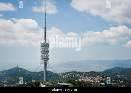 Collserola Tower or Torre de Collserola is located on Tibidabo hill in the Serra de Collserola, in Barcelona. - Stock Photo