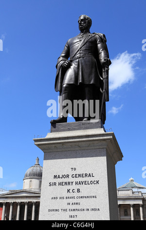 The statue of Major-General Sir Henry Havelock on Trafalgar Square in London, England, UK. - Stock Photo