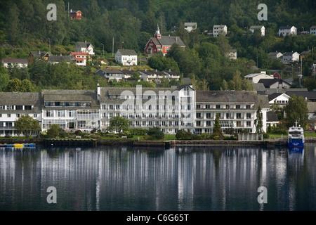 Norway Hordaland Hardanger Ulvik Brakanes hotel & waterfront - Stock Photo