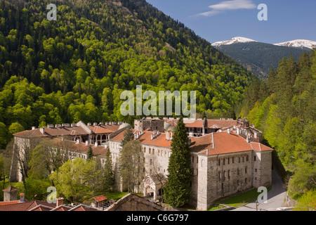 Rila Monastery, or Monastery of St Ivan of Rila, in its setting in the Rila mountains. Originally 14th century, - Stock Photo