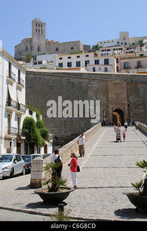 City wall and entrance to The Dalt Vila area in the old town of Eivissa Ibiza Island Spain - Stock Photo