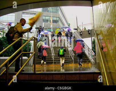 Raining in Columbus Circle NYC/ Subway Entrance, near Warner Center. - Stock Photo