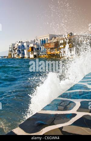Little Venice waterfront, Mykonos (Hora), Cyclades Islands, Greece - Stock Photo
