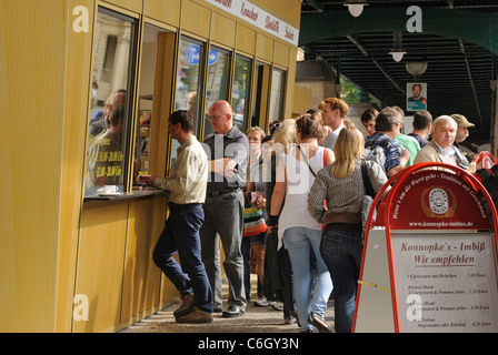 Konnopke's Imbiss takeaway, oldest and most famous sausage stall, Schoenhauser Allee, Prenzlauer Berg, Berlin, Germany, - Stock Photo
