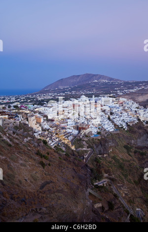 Elevated view over the Volcanic landscape and main town of Fira, Santorini (Thira), Cyclades Islands, Aegean Sea, - Stock Photo