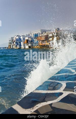 Little Venice waterfront, Mykonos (Hora), Cyclades Islands, Greece, Europe - Stock Photo