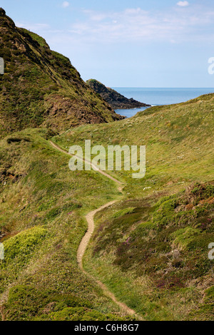 Section of the south west coast path on the Devon Cornwall border near Hartland Quay looking towards Gull Rock - Stock Photo