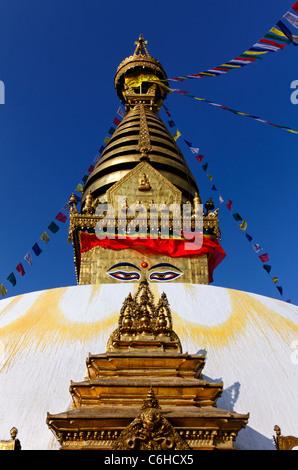 Swayambhunath, the Monkey Temple, Kathamndu, Nepal - Stock Photo