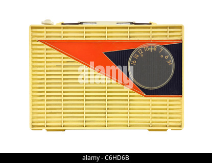 Grungy vintage 1950's googie style portable radio. - Stock Photo