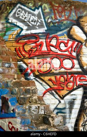 Graffiti - River Arts District - Asheville, North Carolina, USA - Stock Photo