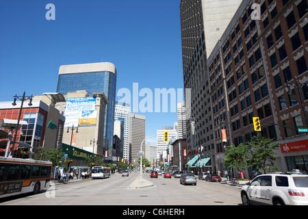 portage avenue downtown winnipeg manitoba canada - Stock Photo