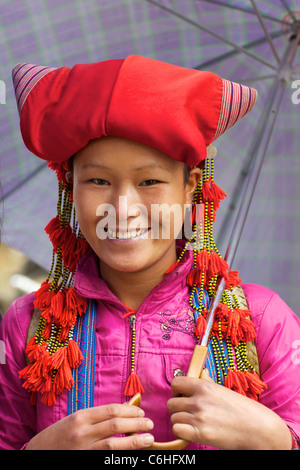 Unidentified girl of the Red Dao Ethnic group in Sapa, Vietnam. - Stock Photo