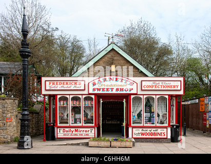 Old sweet shop at the National Tramway Museum in Crich, Derbyshire - Stock Photo