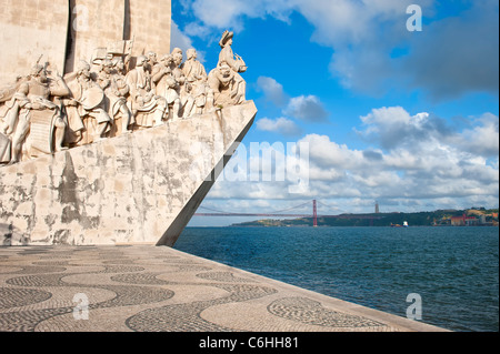 Monument to the Discoveries, Belem district, Lisbon, Portugal - Stock Photo