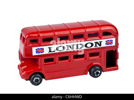 RED LONDON BUS TOY cutout on white background - Stock Photo