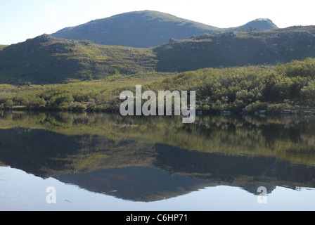 reflection of hills in the lake, Silvermine Walks, Table Mountain National Park, Cape Town, Western Cape, South - Stock Photo
