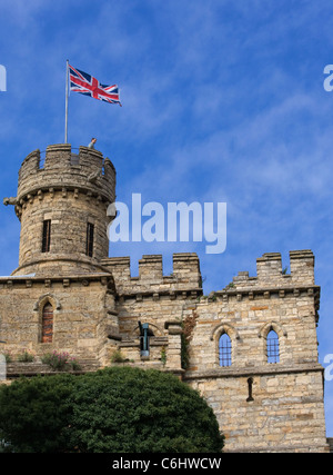 Lincoln Castle with the Union Jack flying