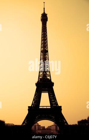 The Eiffel tower sepia toned, Paris, France. - Stock Photo