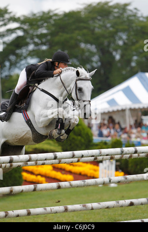 A horse and rider jumping a fence during the Grand Prix event at the Traders Point Horse Show. - Stock Photo