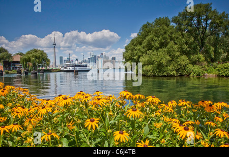 City Lake Front of Downtown Toronto Skyline Panorama view on Lake Ontario in Ontario;Canada;North America - Stock Photo