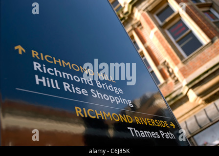 information sign giving directions in richmond upon thames, surrey, england - Stock Photo
