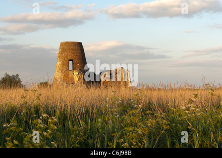 The ruins of St Benet's Abbey and mill, Norfolk, England. - Stock Photo