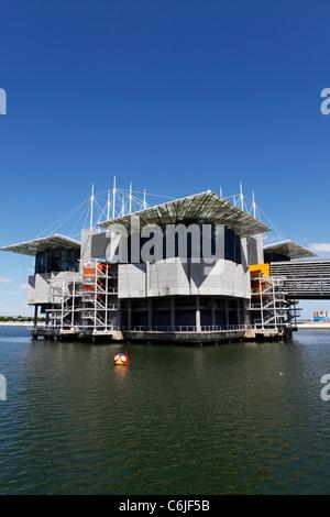 The Oceanario de Lisboa (Lisbon Oceanarium) in the Parque das Nacoes (Park of Nations) in Lisbon, Portugal. - Stock Photo
