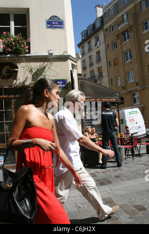 street scene in the latin quarter paris france - Stock Photo